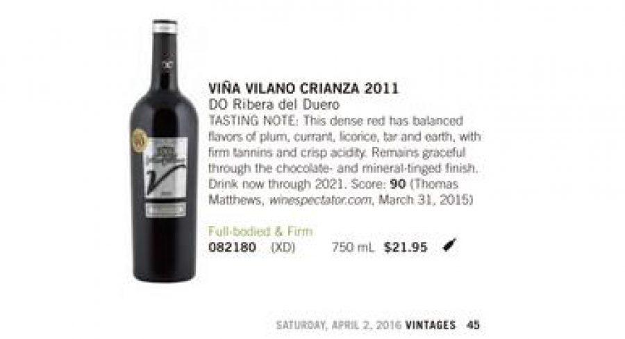 La revista canadiense 'Vintages' incluye el Viña Vilano Crianza entre los 100 mejores vinos y licores del mundo