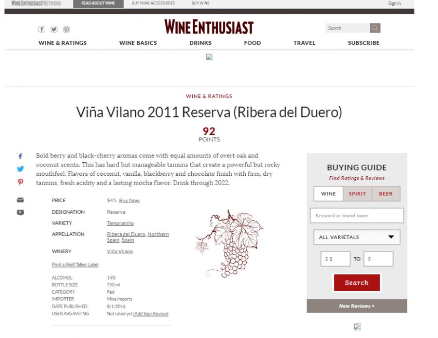 La revista norteamericana 'Wine Enthusiast' sitúa al Reserva Viña Vilano 2011, con 92 puntos, entre los mejores vinos del año