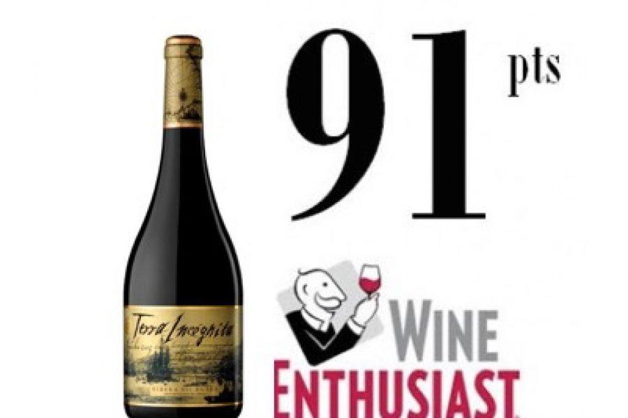 The prestigious magazine Wine Enthusiast awards 91 points to Terra Incógnita