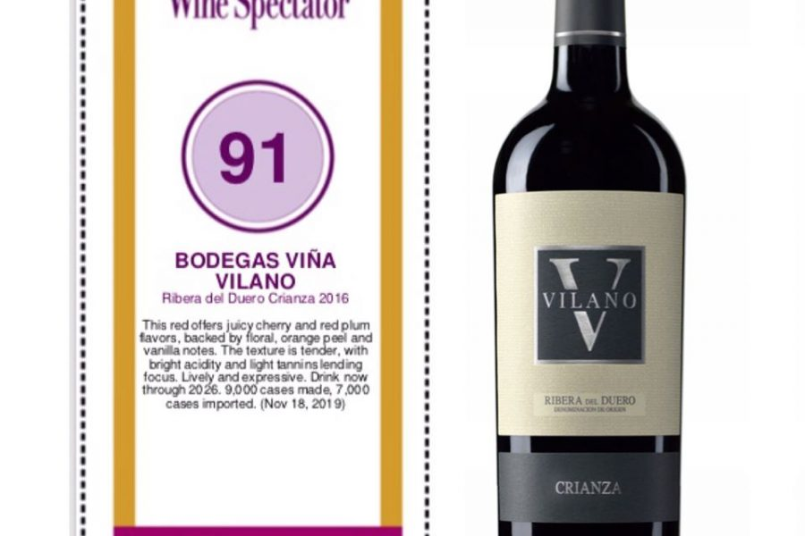 "Wine Spectator rewards Vilano Crianza 91 points and highlights its ""superior style"""